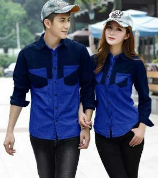Model Baju batik couple modern anak muda lengan panjang