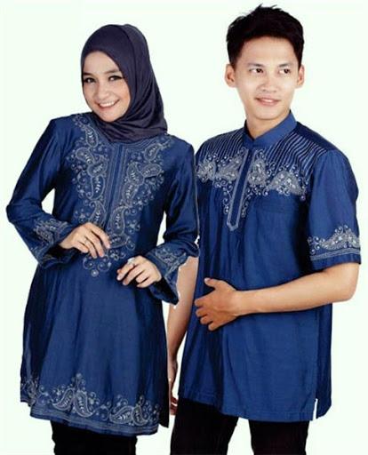 Model Baju Lebaran Couple Keluarga Warna Biru Terbaru