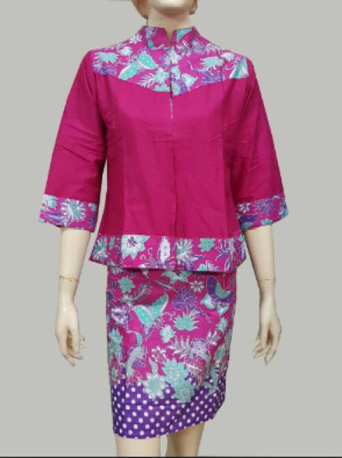 model baju batik atasan wanita kantor modern terbaru
