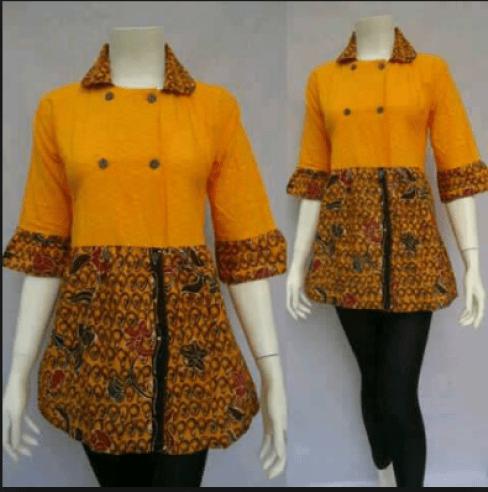 model baju batik kantor perempuan terbaru