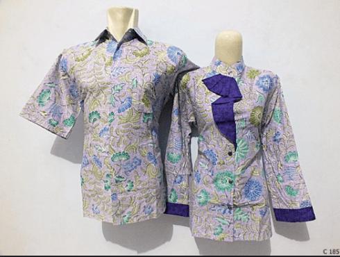 model baju couple batik kantor terbaru