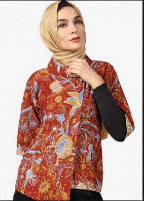 Model Baju Batik Atasan Wanita Lengan Pendek Terbaru