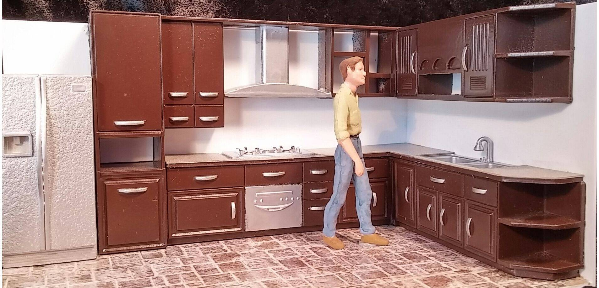 kitchen set cabinet makeover 1 24 g scale 5pc