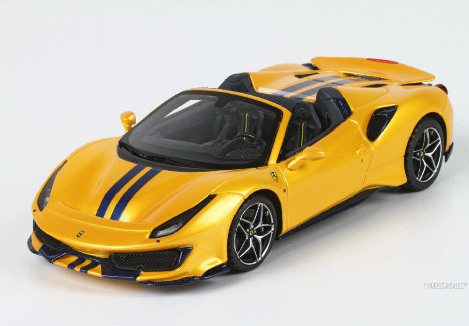 Ferrari 488 Pista Spider Yellow Giallotristrato W/ Blue Stripes 1:43 BBRC218H1 BBR Modellauto Zu verkaufen