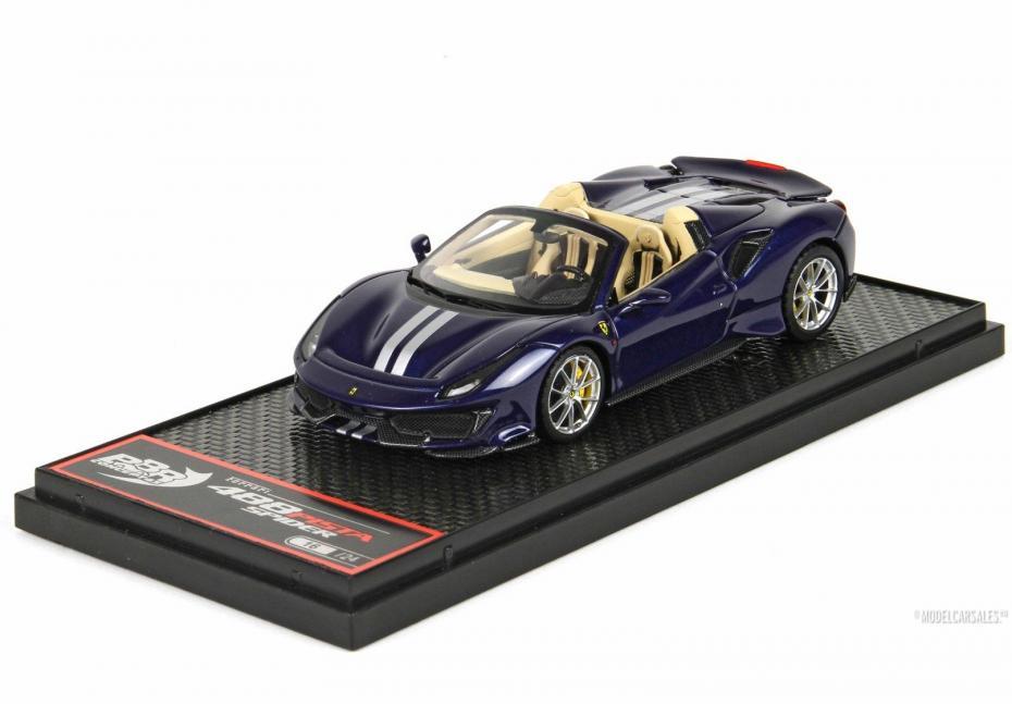 Ferrari 488 Pista Spider Blue Swaters 1:43 BBRC218E1 BBR Modellauto Zu verkaufen
