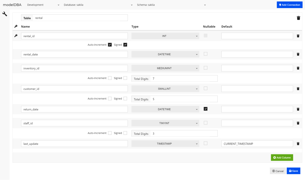 Make table changes easily using the table editor interface, shown in this modelDBA screenshot.
