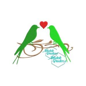 Model broderie birds love