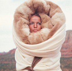 Model Veruschka Wearing Fur Hood