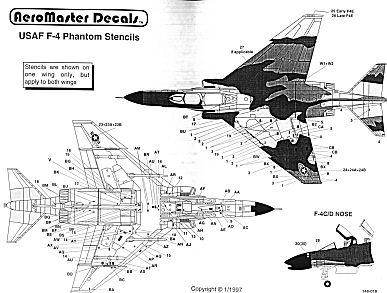 Aeromaster 148-18 1/48 USAF F-4 Stencils