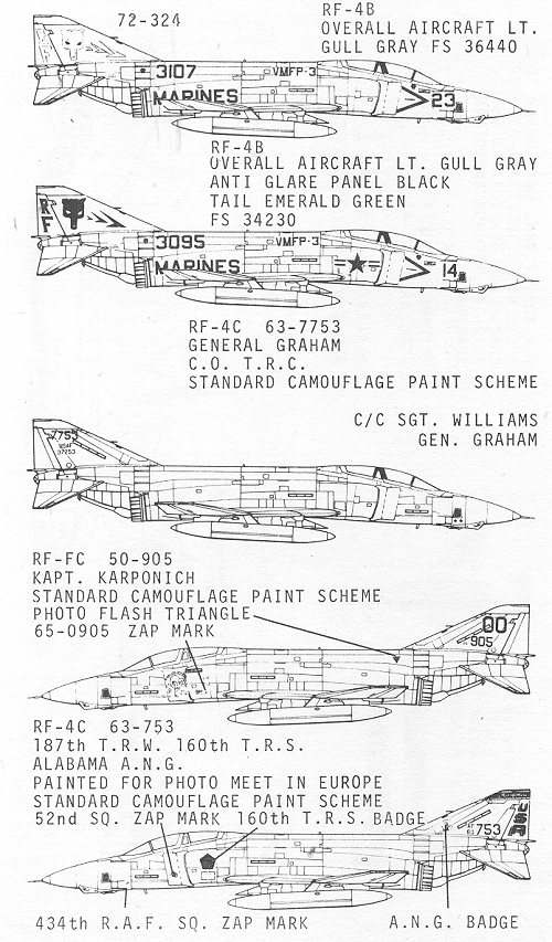 Superscale 72-324 for RF-4B/C Phantom II