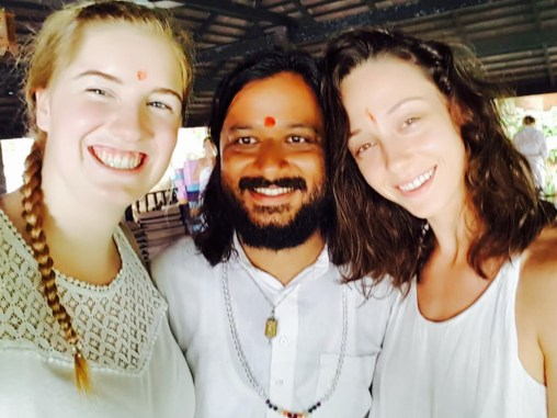 Pala, Yogi Amitram, and I during the Fire Ceremony.