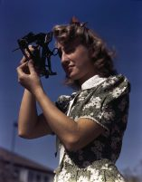 Learning how to determine latitude by using a sextant is Senta Osoling, student at Polytechnic High School, Los Angeles, Calif. in September 1942. Navigation classes are part of the school's program for training its students for specific contributions to the war effort. (Alfred T. Palmer/U.S. Office of War Information/Library of Congress)