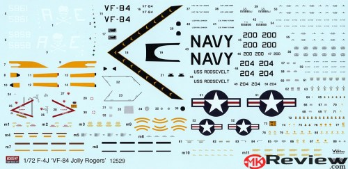 New 1/72 Academy F-4J 'Jolly Rogers' decal sheet. Click to enlarge