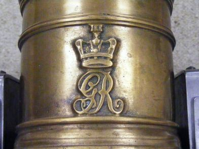 Close up of Nicks Royal markings on his cannon