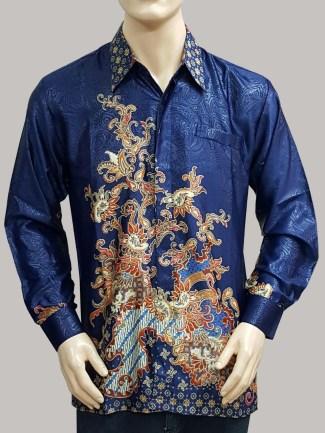 Kemeja Batik Pria Lengan Panjang Berbahan Satin