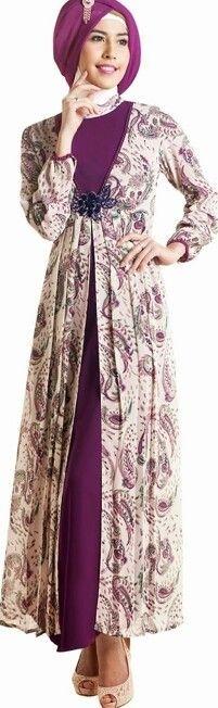 Model Baju Batik Muslimah Kombinasi Kain Polos Terbaru