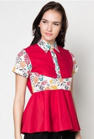 Model Baju Batik Atasan Kombinasi Kain Polos Lengan Pendek