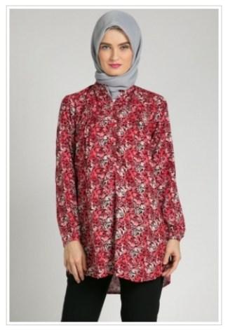 Model Baju Batik Atasan Wanita Lengan Panjang Berdesain Modern