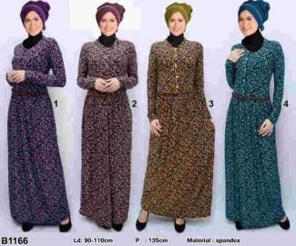 Model Baju Gamis Batik Kombinasi Kain Brokat untuk Wanita Muslim