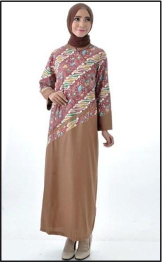 Model Baju Gamis Batik Kombinasi Polos Terbaru Saat Ini
