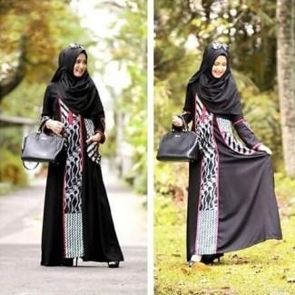 Model Baju Gamis Batik Kombinasi Polos untuk Undangan