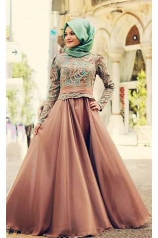Model Baju Gamis Brokat Kombinasi Sifon untuk Muslimah