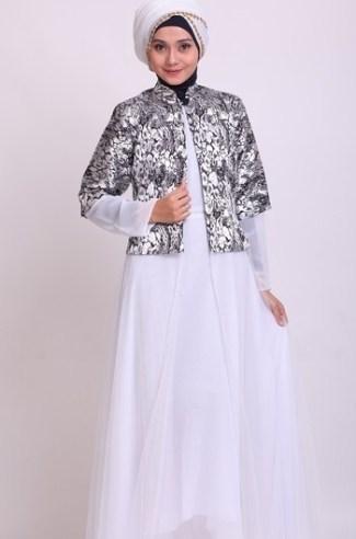 Model Baju Gamis Sifon Kembang Kombinasi Blazer