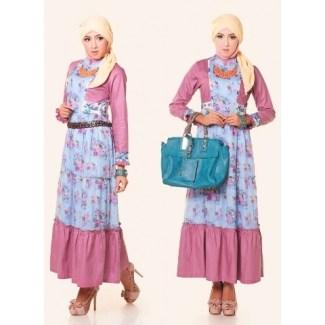 Model Baju Gamis Sifon Kembang Paling Modern dan Kekinian