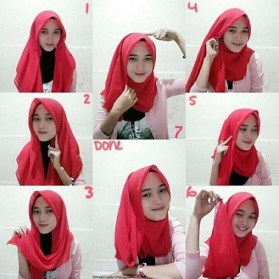 Tutorial Hijab Paris Segi Empat 10