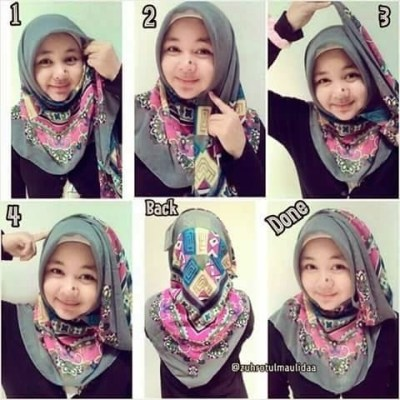 Tutorial Hijab Paris Segi Empat 3