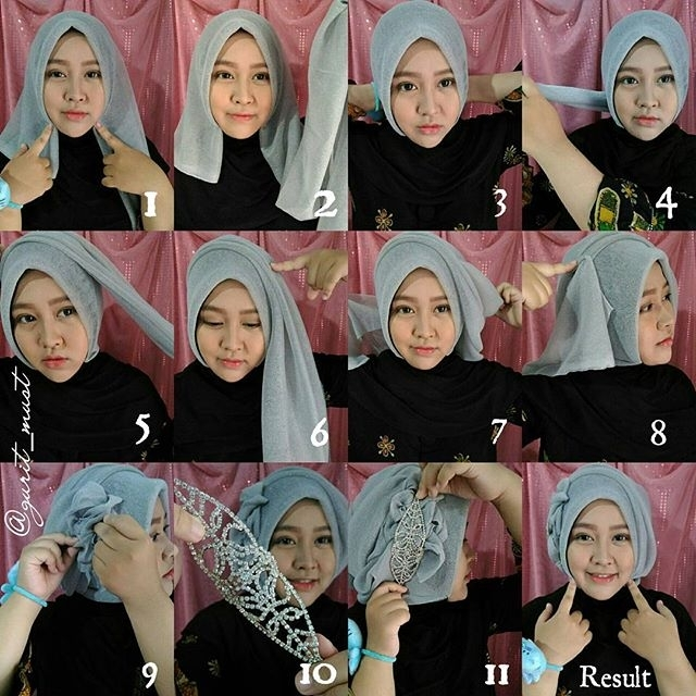 Tutorial Hijab Segi Empat untuk Pesta Sederhana