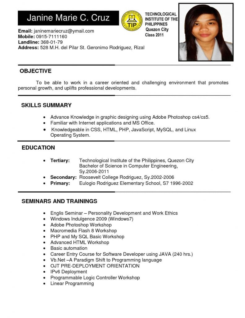 example of resume to apply job in philippines