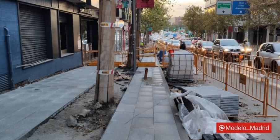 Obras de mejora de aceras y calzada en calle Alcalá (Ventas)