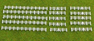 Kestrel GMKD13W White Farm Rail Fencing 86mm x5 lengths (N gauge plastic kit)