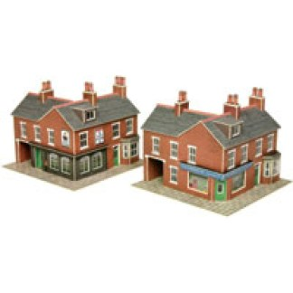 Metcalfe PN116 N Scale Corner Shop & Pub in Red Brick (N scale card kit)