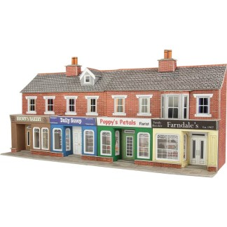 Metcalfe PO272 Low Relief Red Brick Shop Fronts (OO scale card kit)