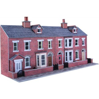 Metcalfe PO274 Low Relief Red Brick Terraced House Fronts (OO scale)