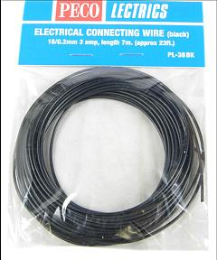 Peco PL-38BK Electrical Wire, Black, 3 amp, 16 strand (7 metres)