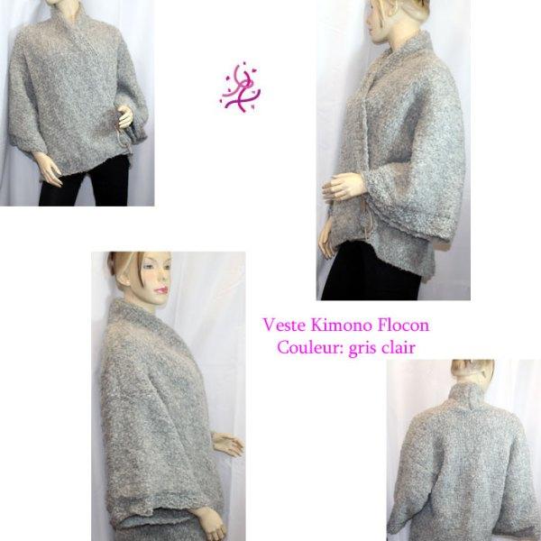 Kimono Flocon couleur gris clair