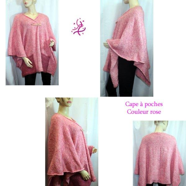 Cape à poches couleur rose