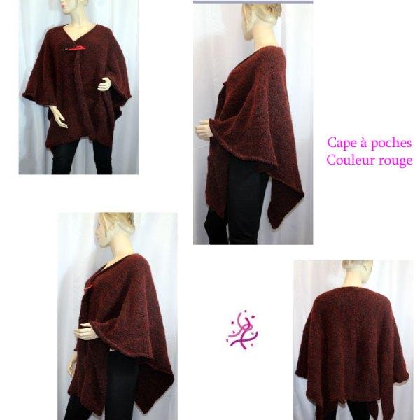 Cape à poches couleur rouge