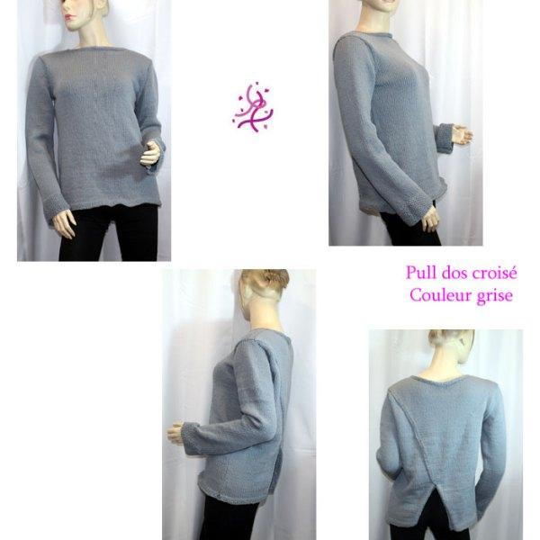 Pull à dos croisé, couleur grise
