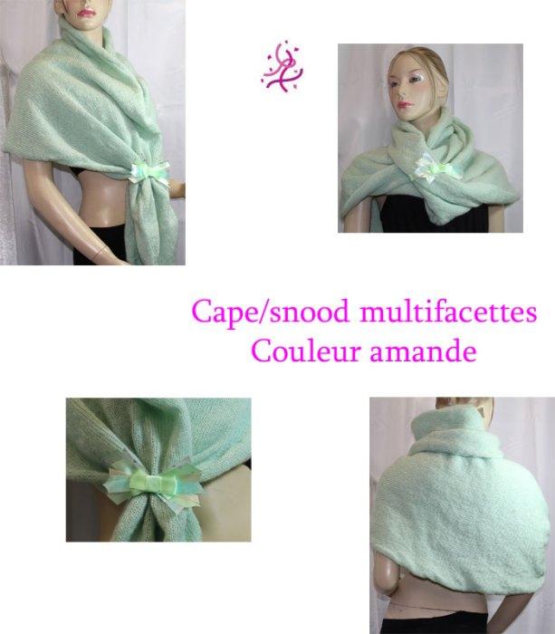 Cape/snood multifacettes, couleur amande