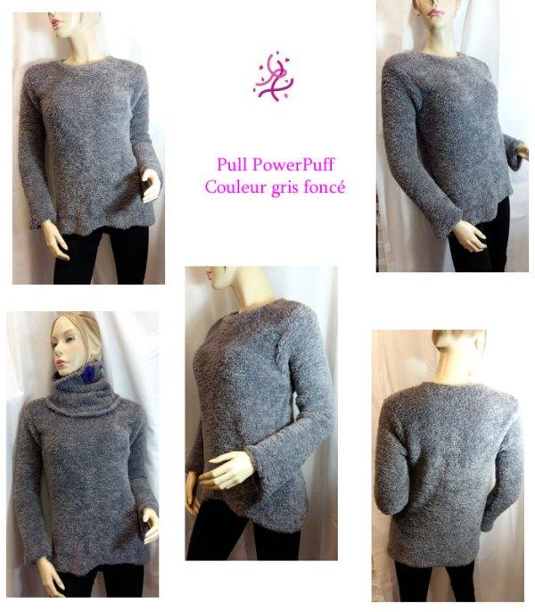 Pull PowerPuff gris foncé
