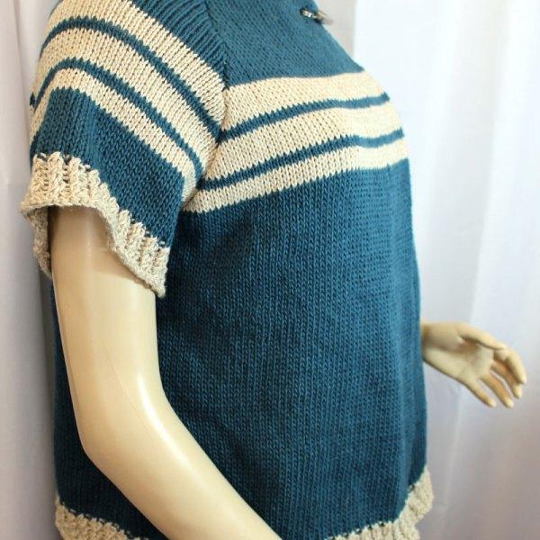 Veste à manches courtes, en lin et coton, bleu pétrole et rayures écrues