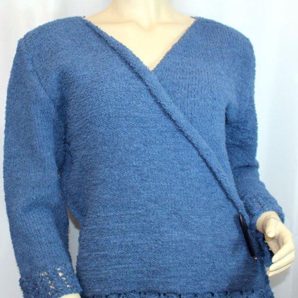 """Cache-cœur """"Plume d'oie"""" en coton, couleur Lapis Blue"""
