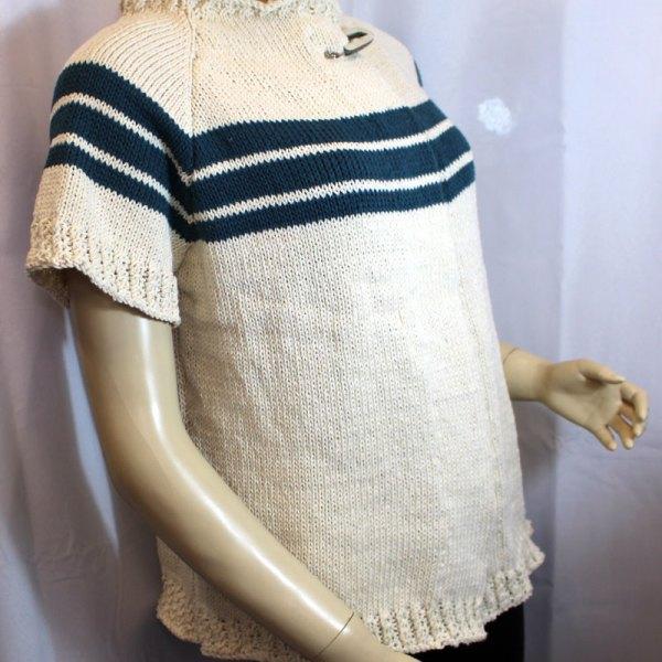 Veste en chanvre et coton, rayures en lin et coton