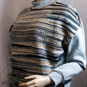 Sweater tricot & tissu gris taille CH 40-42