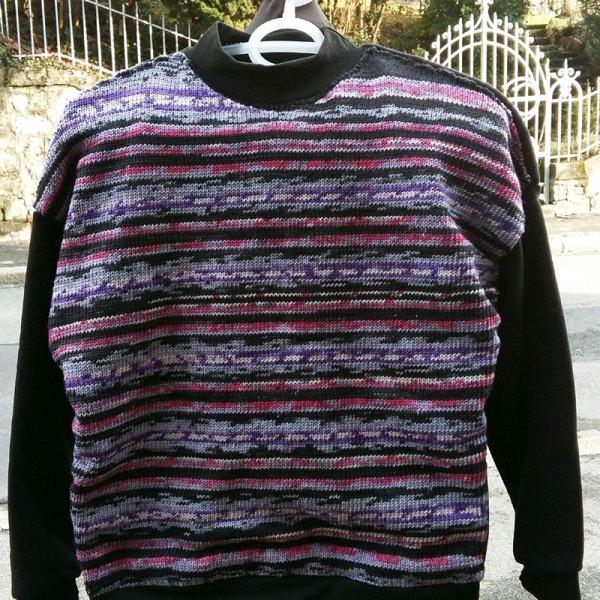 Sweater tricot & tissu noir, taille CH 38-40