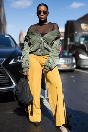 8v710u-l-610x610-pants-nyfw2017-fashionweek2017-fashionweek-streetstyle-yellow-widelegpants-jacket-bomberjacket-greenbomberjacket-khakibomberjacket-armygreenjacket-black-backpack